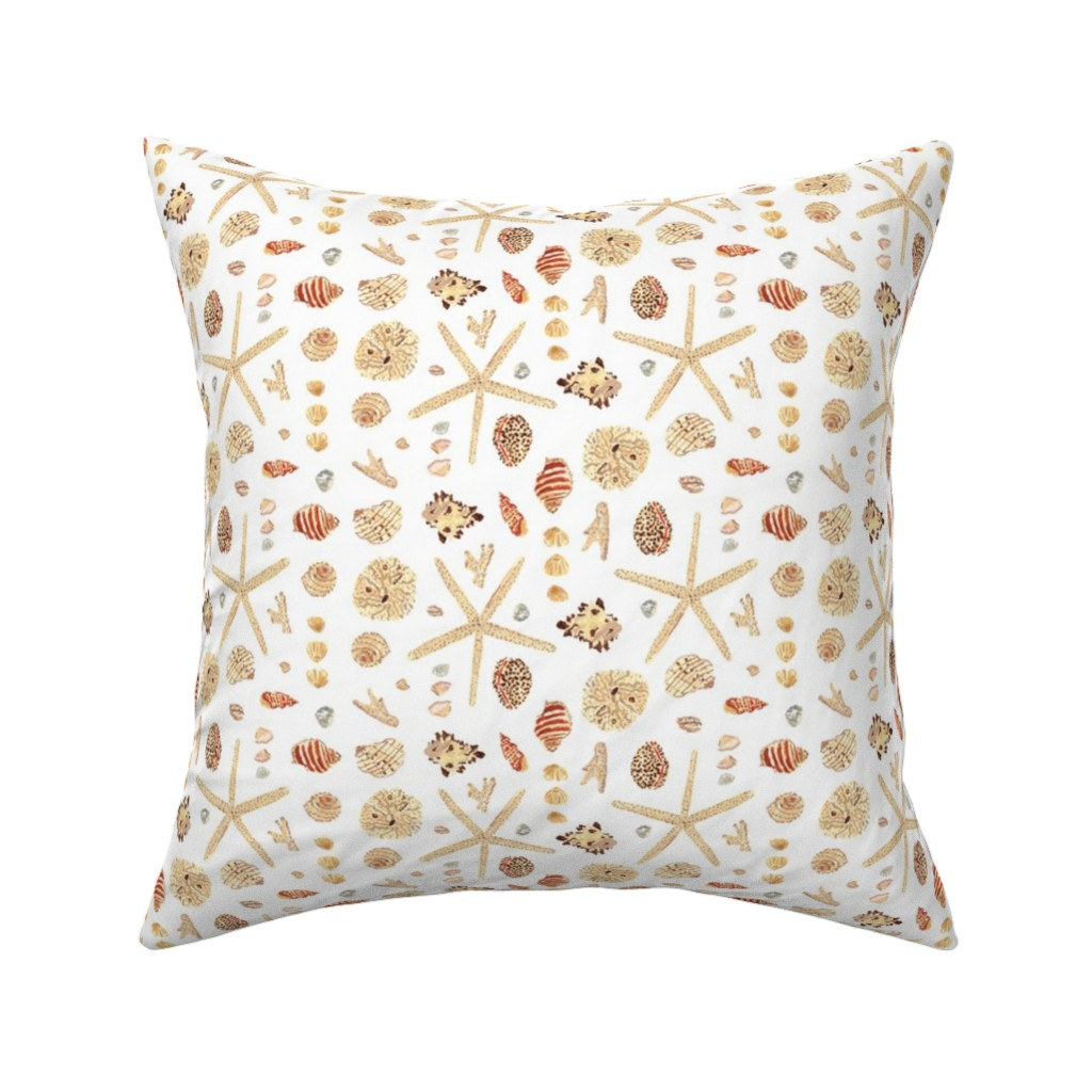 Catalan Throw Pillow featuring Watercolor Seashells by anniemontgomerydesign