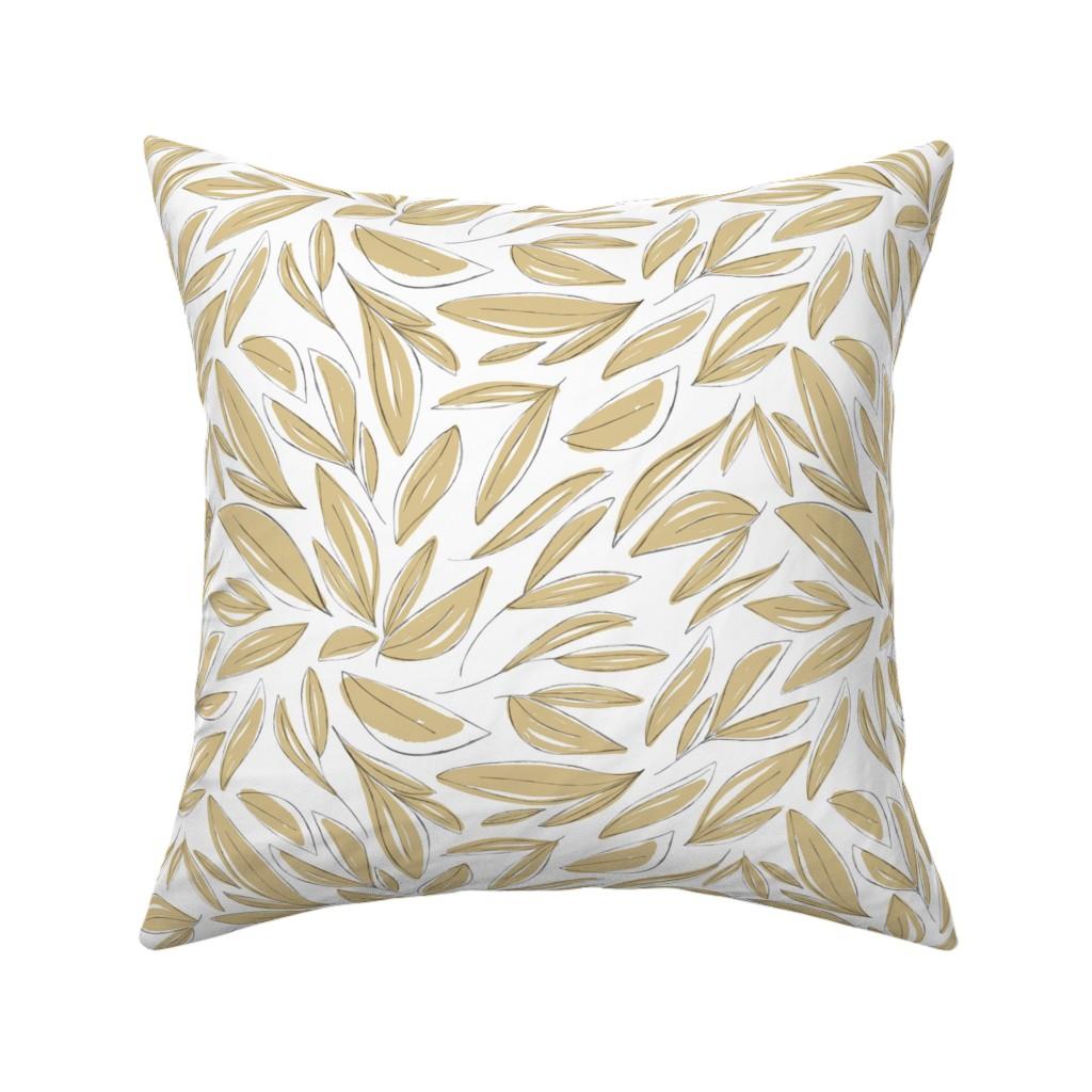 Catalan Throw Pillow featuring Floral Sketches Beige by anniemontgomerydesign