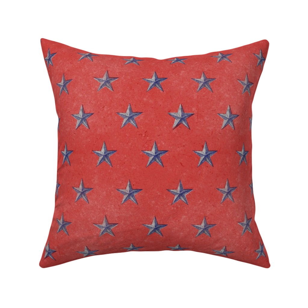 Catalan Throw Pillow featuring stars print red white and blue vintage by ghouk