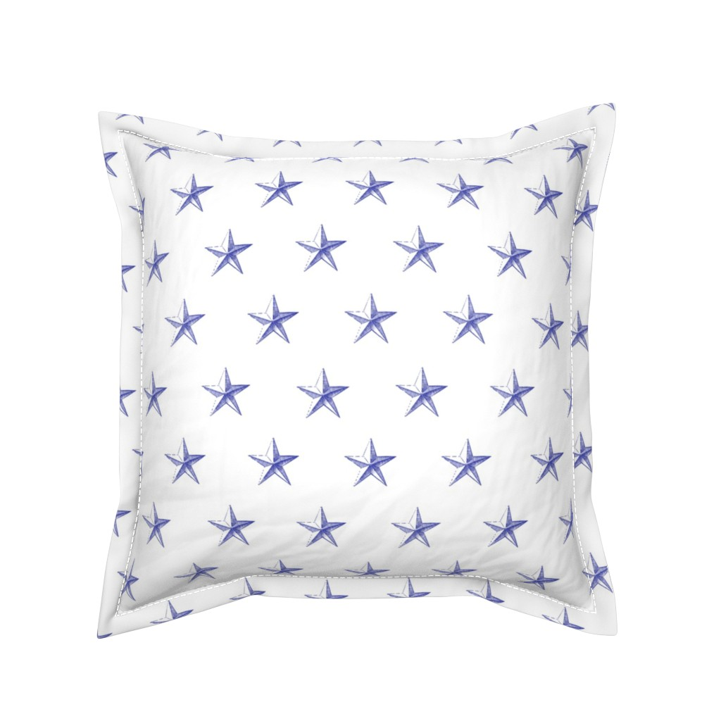 Serama Throw Pillow featuring stars print blue engraved on white by ghouk