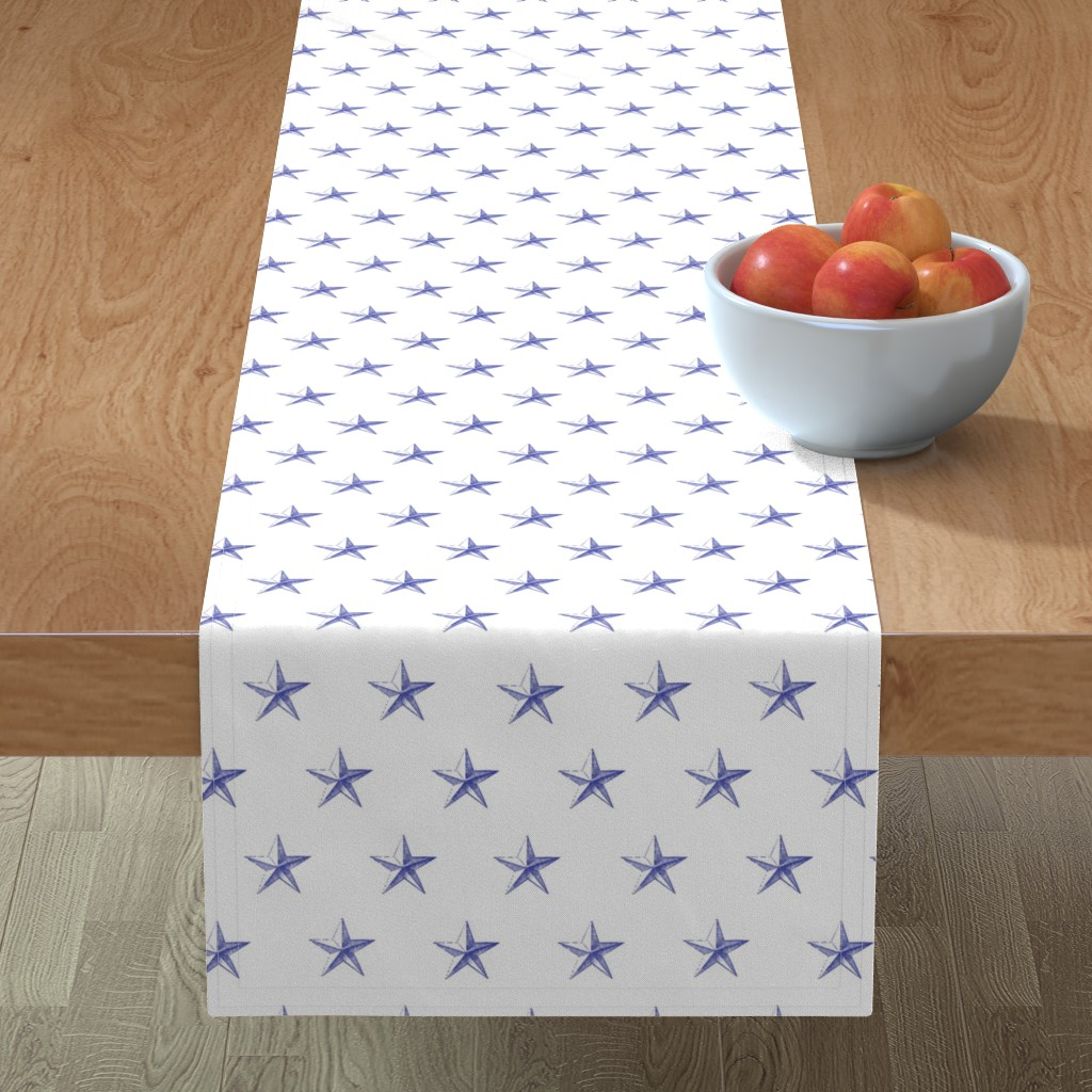 Minorca Table Runner featuring stars print blue engraved on white by ghouk