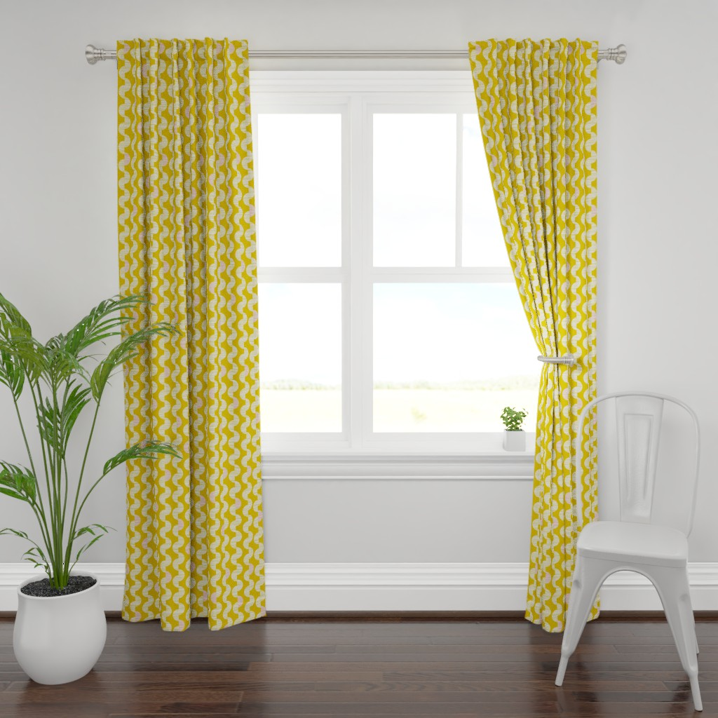 Plymouth Curtain Panel featuring Chelsea - Goldenrod & Blush Retro Geometric by heatherdutton