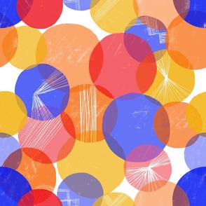 Bauhaus Bubbles (Primary colors) - by Kara Peters