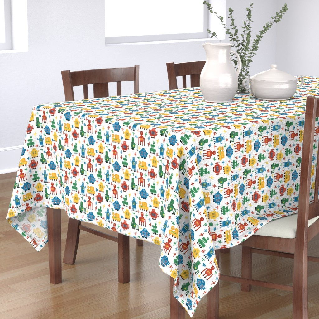 Bantam Rectangular Tablecloth featuring Rolling Robots - Brights by inklaura