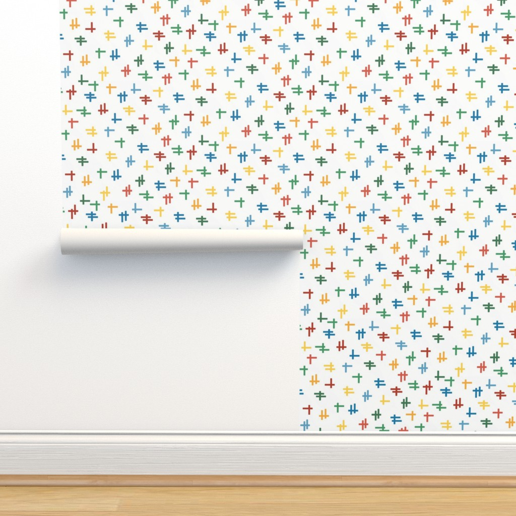 Isobar Durable Wallpaper featuring Rolling Robots companion crosshatch multicolor by inklaura