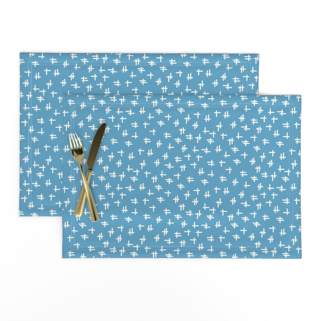 Lamona Cloth Placemats featuring Rolling Robots companion crosshatch blue by inklaura