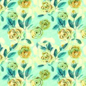 Watercolor vintage pale roses