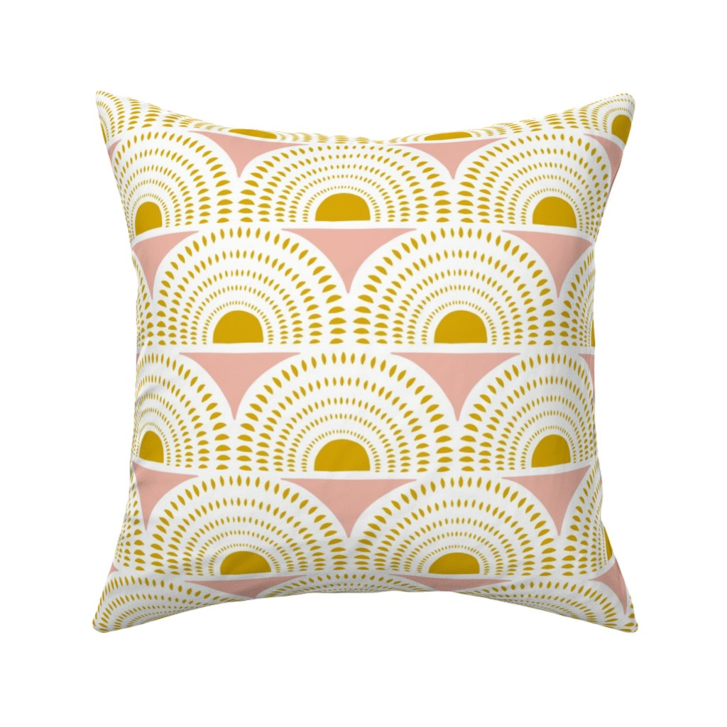 Catalan Throw Pillow featuring Aurora - Blush & Goldenrod Geometric Large Scale by heatherdutton