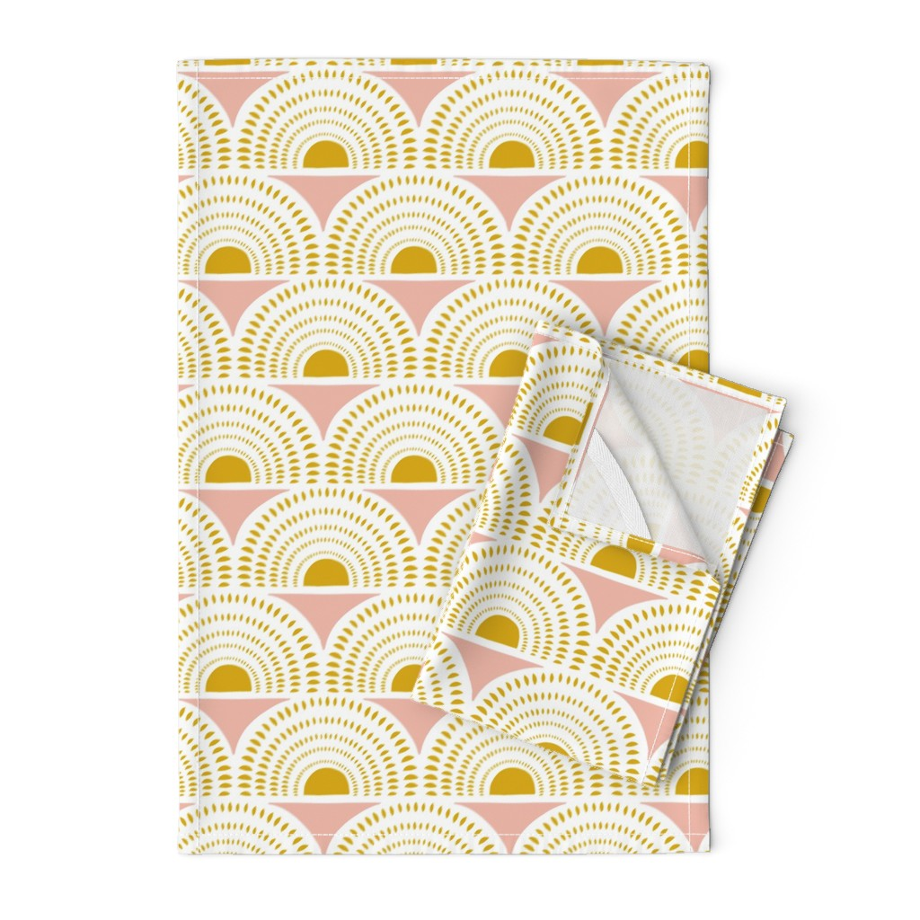 Orpington Tea Towels featuring Aurora - Blush & Goldenrod Geometric Large Scale by heatherdutton
