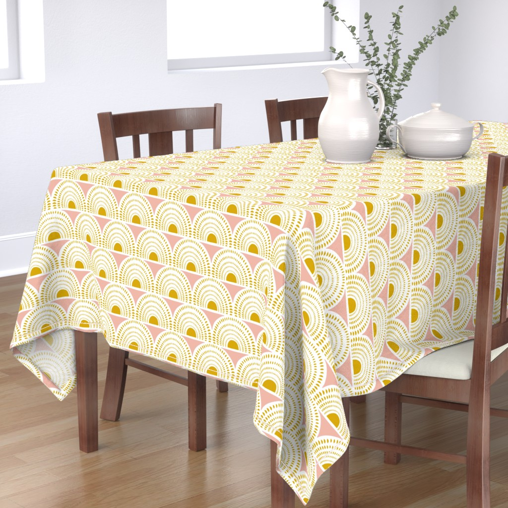 Bantam Rectangular Tablecloth featuring Aurora - Blush & Goldenrod Geometric Large Scale by heatherdutton