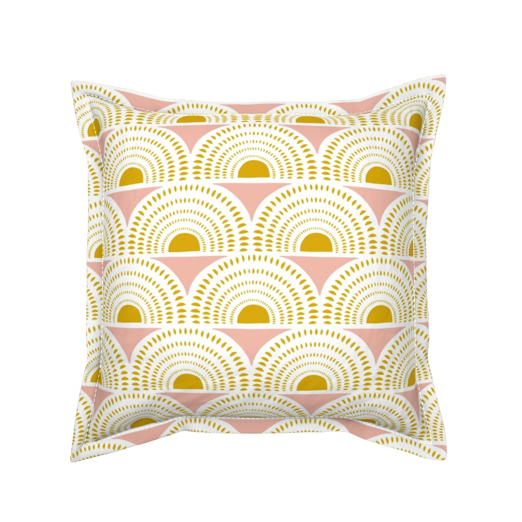 Serama Throw Pillow featuring Aurora - Blush & Goldenrod Geometric Large Scale by heatherdutton
