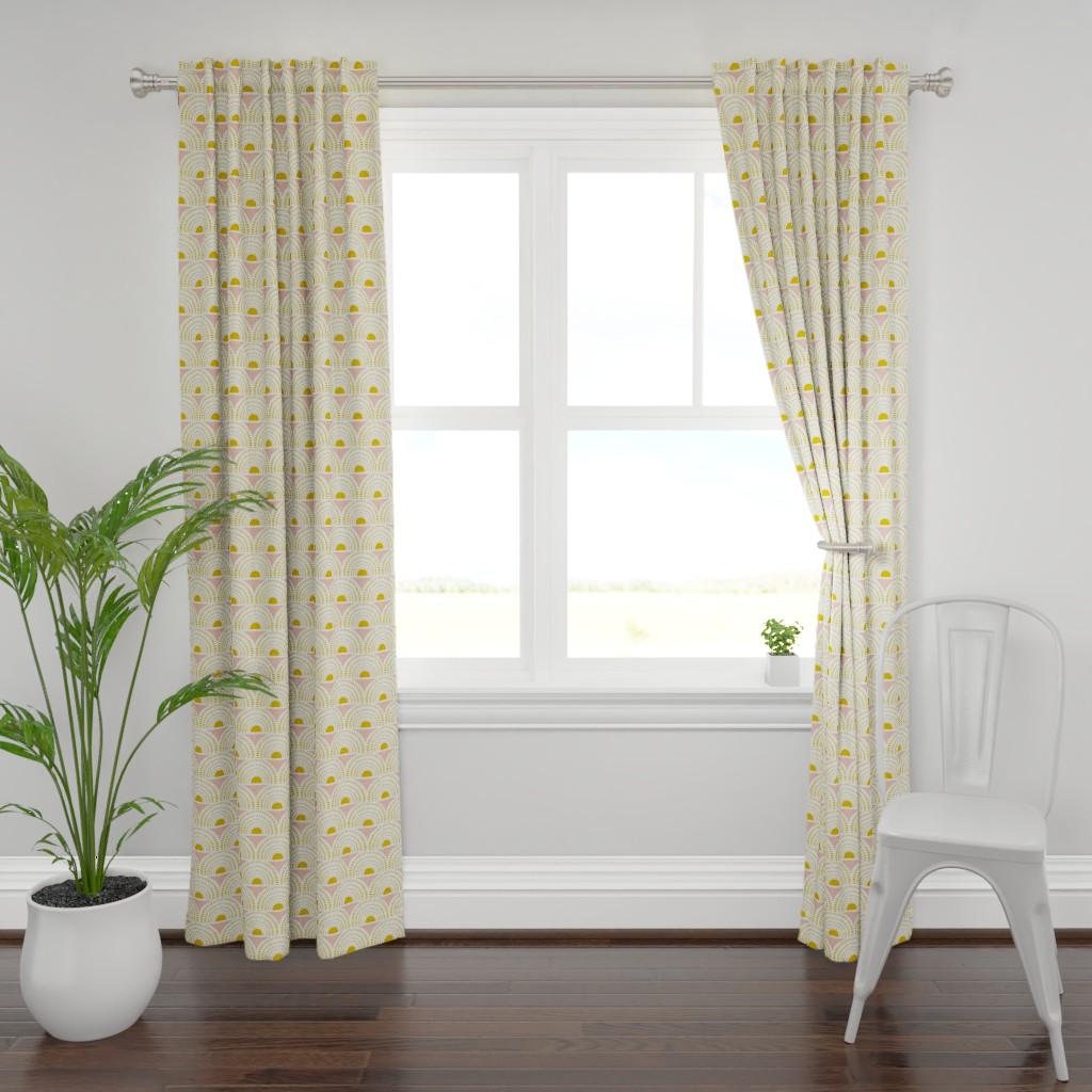 Plymouth Curtain Panel featuring Aurora - Blush & Goldenrod Geometric by heatherdutton