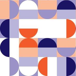 Bauhaus Minimal Semi Circle Geometric Pattern 1 - Orange and Indigo blue