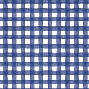 Navy Blue Watercolor Gingham