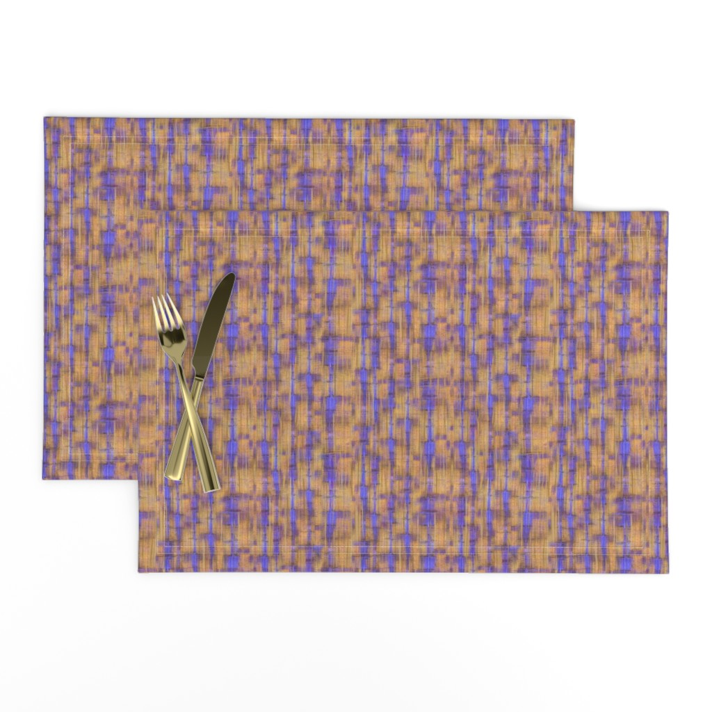 Lamona Cloth Placemats featuring gold-stripes-periwinkle by wren_leyland