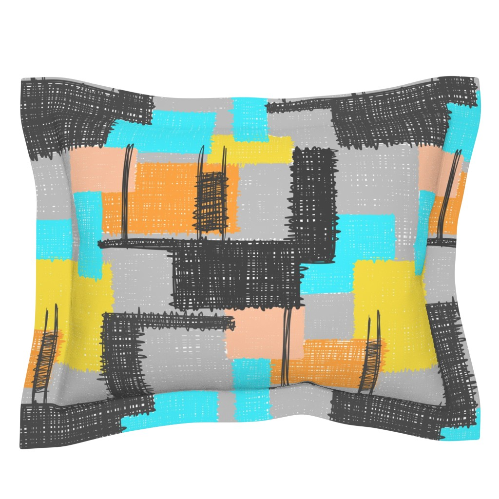 Sebright Pillow Sham featuring Inky Scribbles Multi by thewellingtonboot