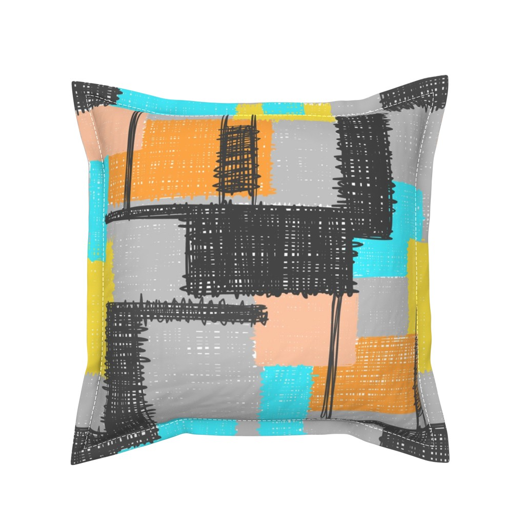 Serama Throw Pillow featuring Inky Scribbles Multi by thewellingtonboot