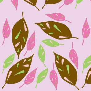 Brown Scattered Leaves - Pink Autumn version