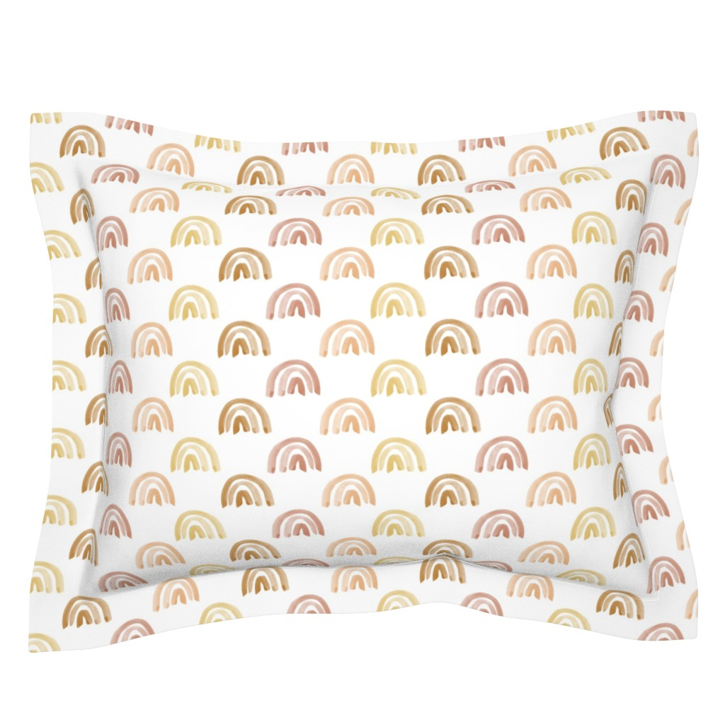 Sebright Pillow Sham featuring Golden Watercolor Rainbow Rows by anniemontgomerydesign