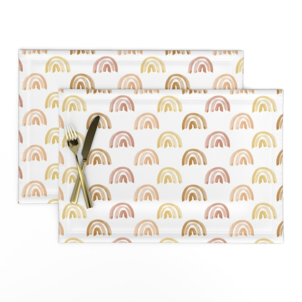 Lamona Cloth Placemats featuring Golden Watercolor Rainbow Rows by anniemontgomerydesign