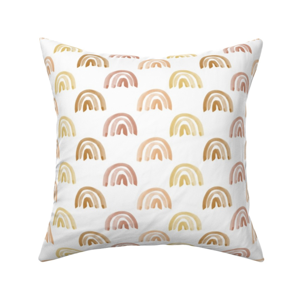 Catalan Throw Pillow featuring Golden Watercolor Rainbow Rows by anniemontgomerydesign