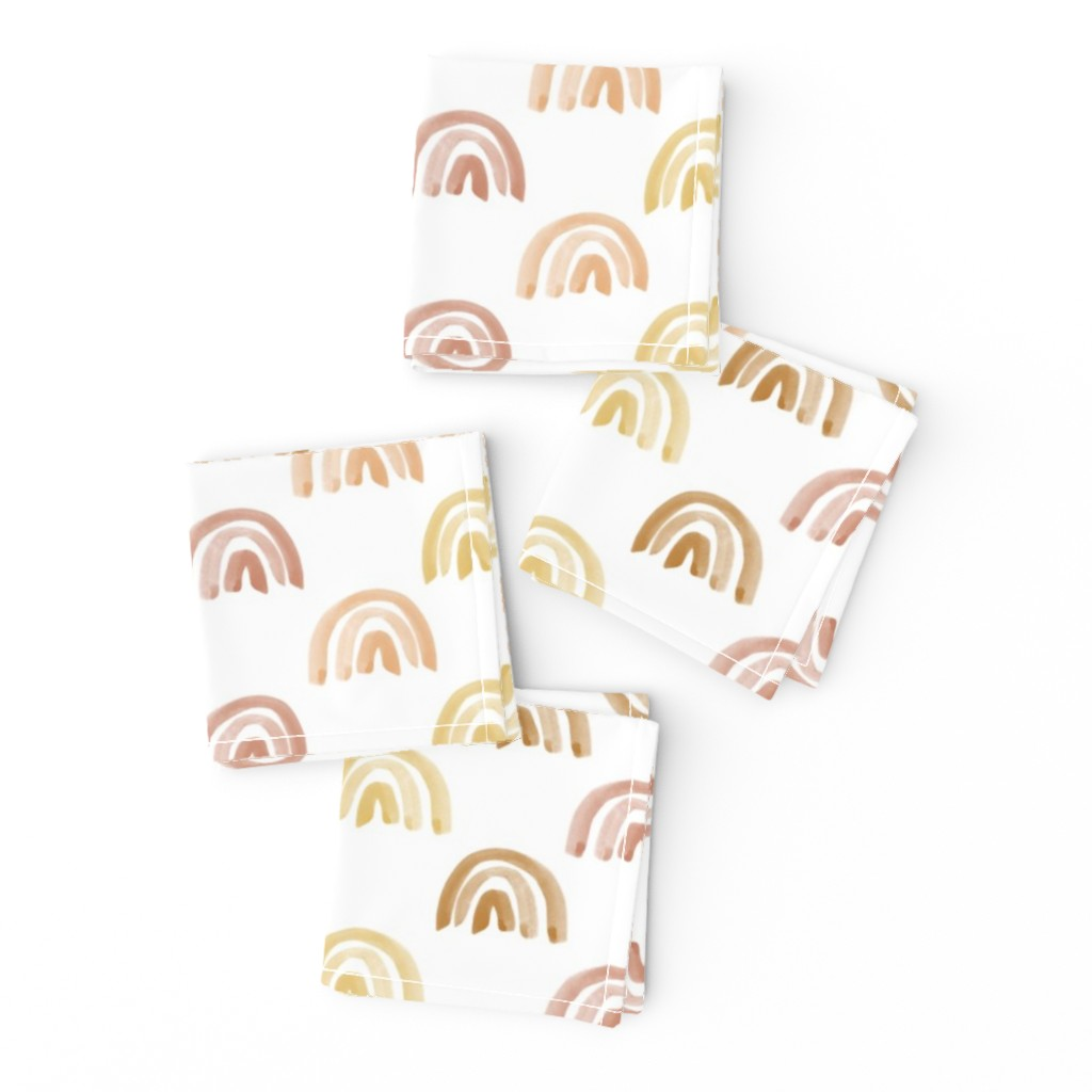 Frizzle Cocktail Napkins featuring Golden Watercolor Rainbow Rows by anniemontgomerydesign