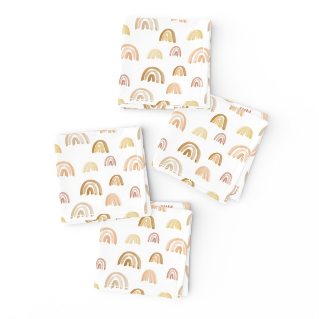 Frizzle Cocktail Napkins featuring Scattered Golden Watercolor Rainbows by anniemontgomerydesign