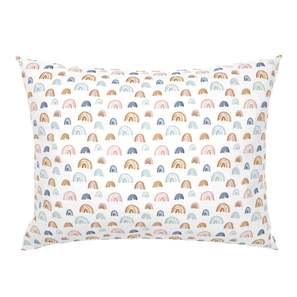 Campine Pillow Sham featuring Scattered Earth Tones Watercolor Rainbows by anniemontgomerydesign