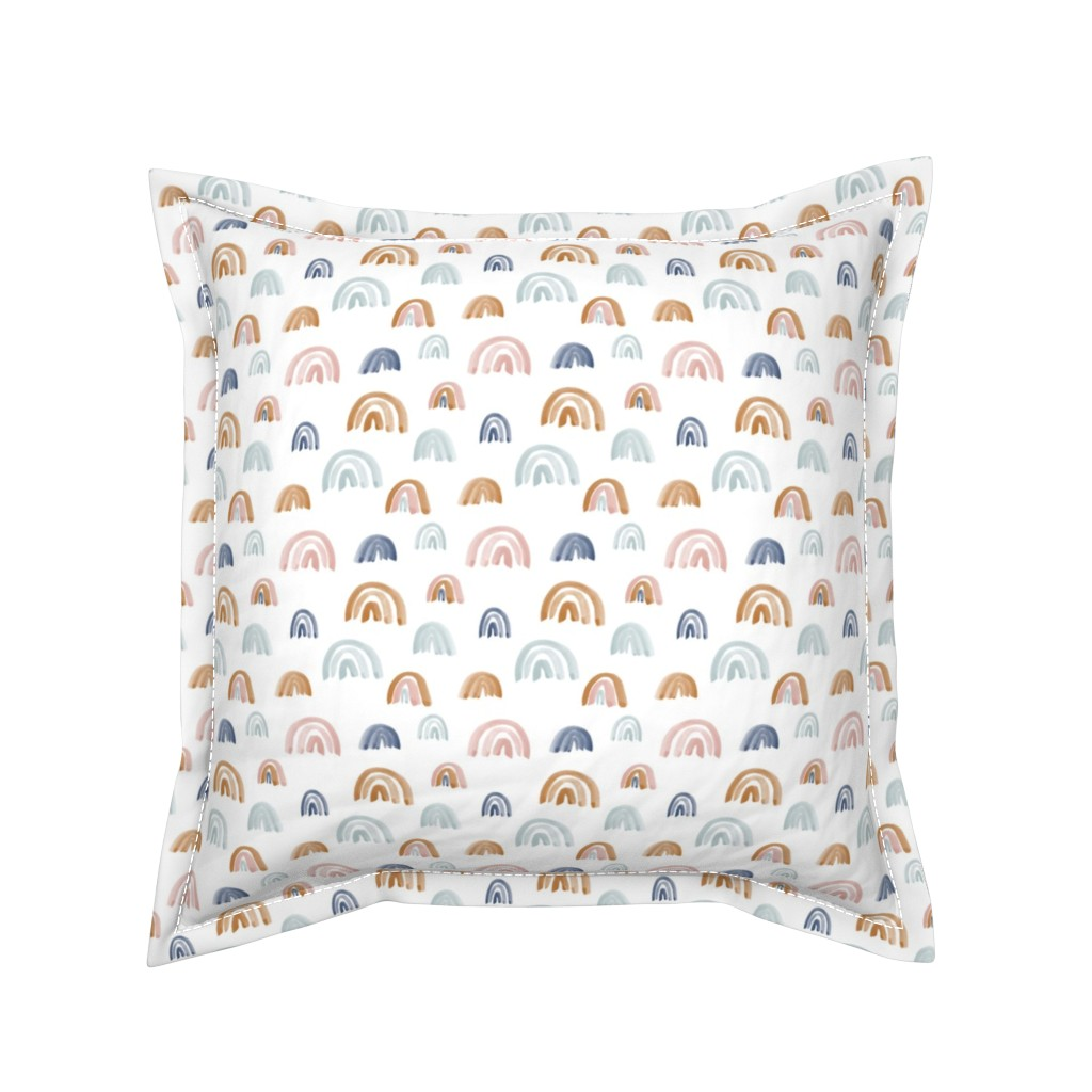 Serama Throw Pillow featuring Scattered Earth Tones Watercolor Rainbows by anniemontgomerydesign