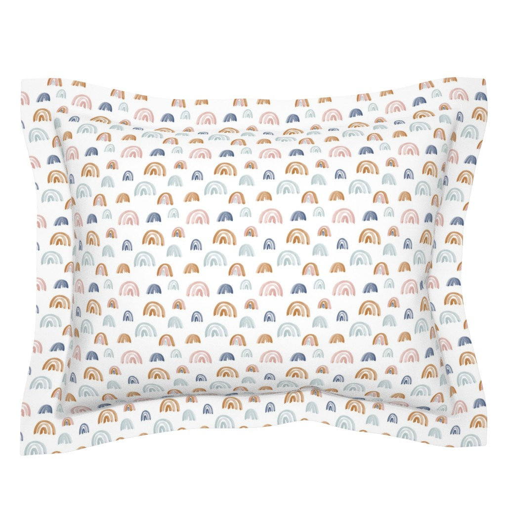 Sebright Pillow Sham featuring Scattered Earth Tones Watercolor Rainbows by anniemontgomerydesign