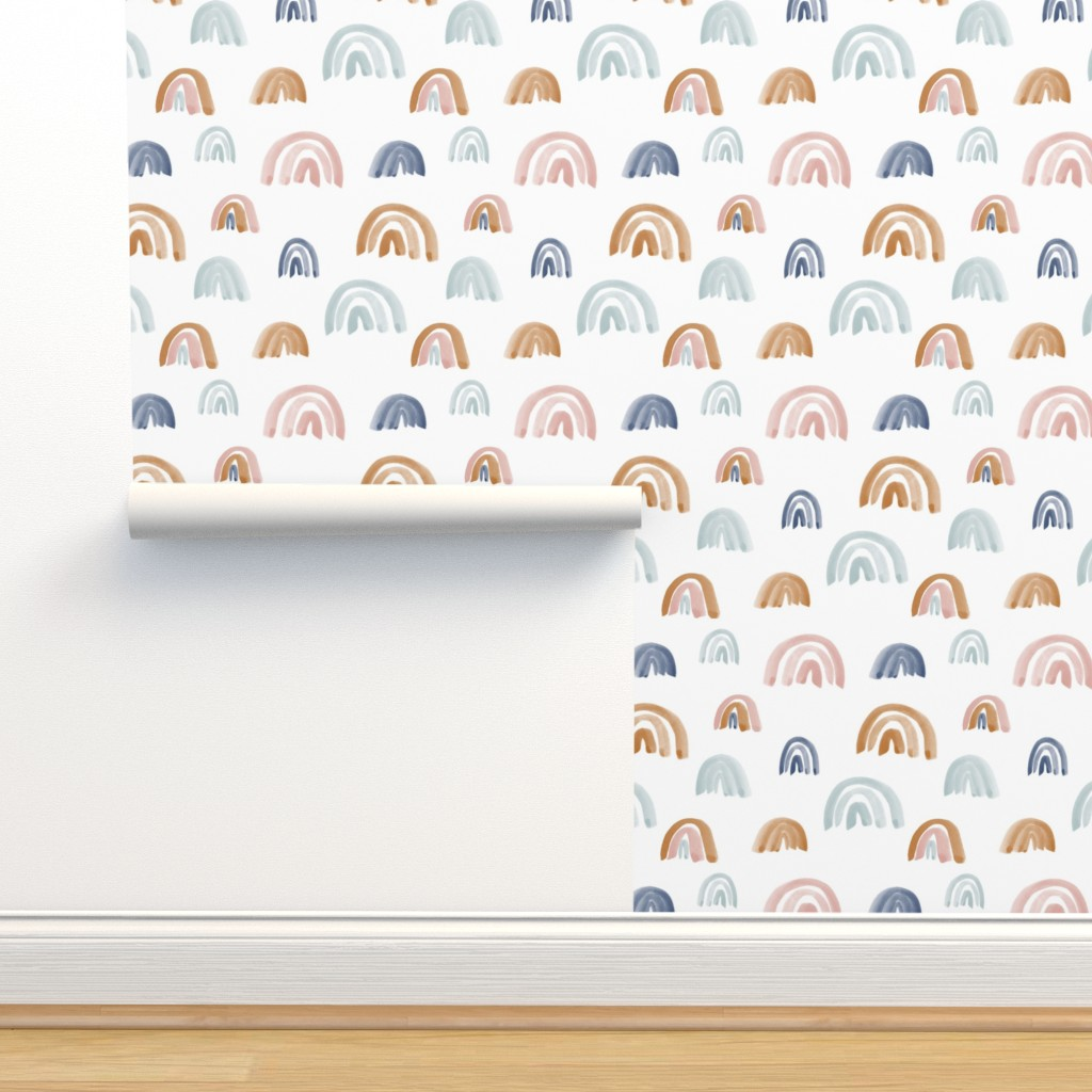 Isobar Durable Wallpaper featuring Scattered Earth Tones Watercolor Rainbows by anniemontgomerydesign