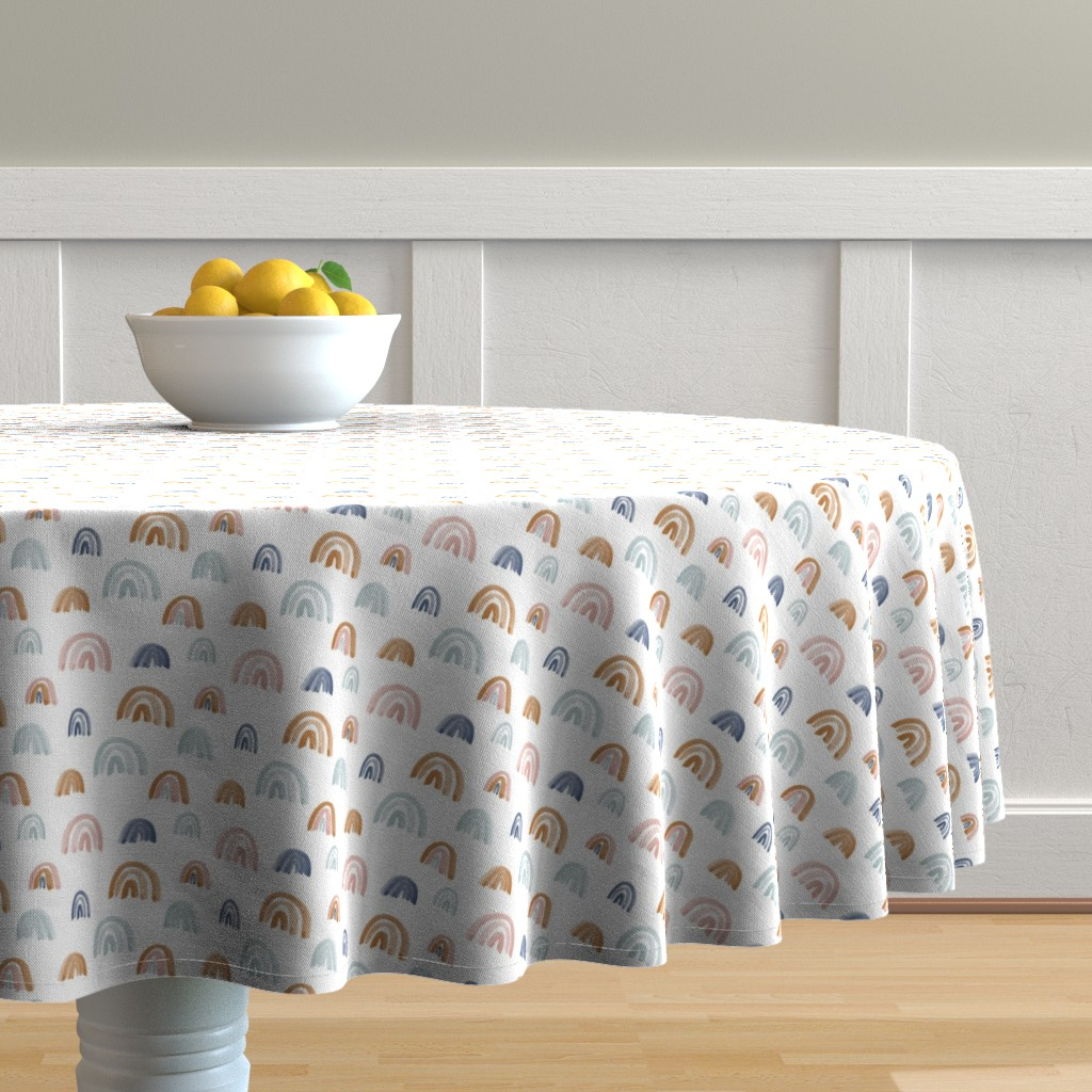 Malay Round Tablecloth featuring Scattered Earth Tones Watercolor Rainbows by anniemontgomerydesign
