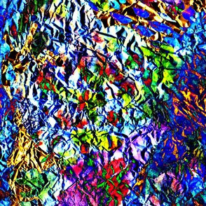 Iridescent crumped foil