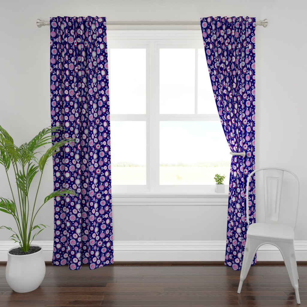 Plymouth Curtain Panel featuring Bauhaus Patriotic Blooms (navy) by helenpdesigns