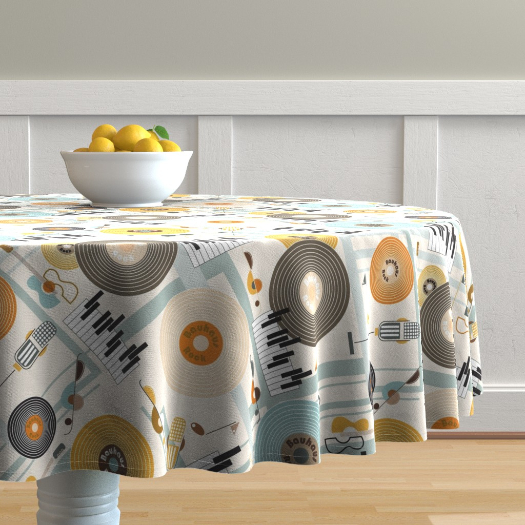 Malay Round Tablecloth featuring Bauhaus Rock in Orange and Blue by paula_ohreen_designs