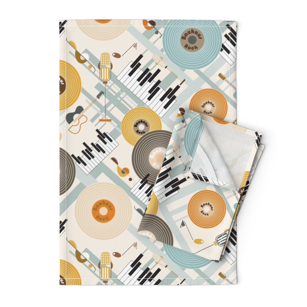 Orpington Tea Towels featuring Bauhaus Rock in Orange and Blue by paula_ohreen_designs