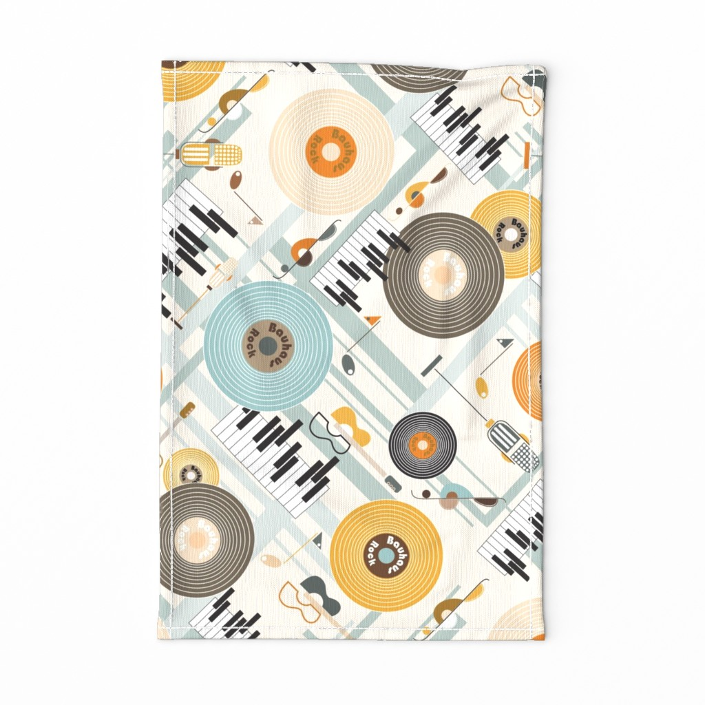 Special Edition Spoonflower Tea Towel featuring Bauhaus Rock in Orange and Blue by paula_ohreen_designs