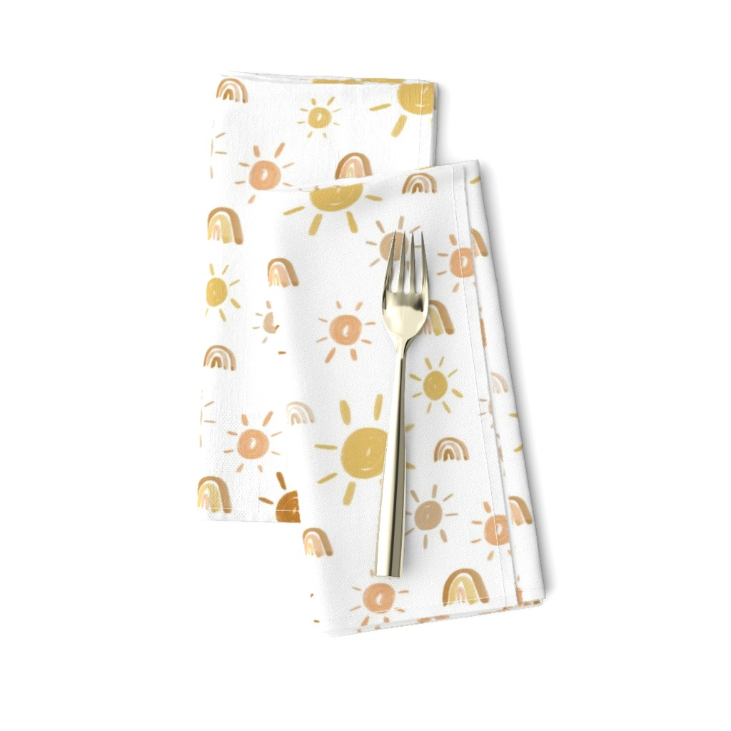 Amarela Dinner Napkins featuring Mr. Golden Sun by anniemontgomerydesign