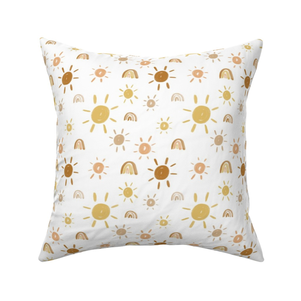 Catalan Throw Pillow featuring Mr. Golden Sun by anniemontgomerydesign