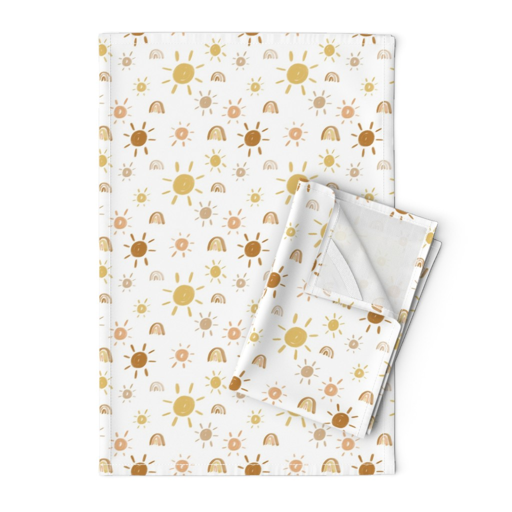 Orpington Tea Towels featuring Mr. Golden Sun by anniemontgomerydesign