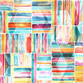 Summer Pastel Geometric and Striped Abstract on white