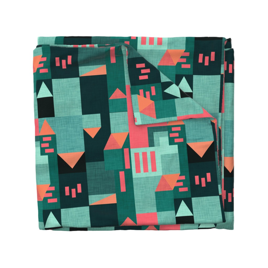 Wyandotte Duvet Cover featuring Bauhaus Green Klee House  by bruxamagica