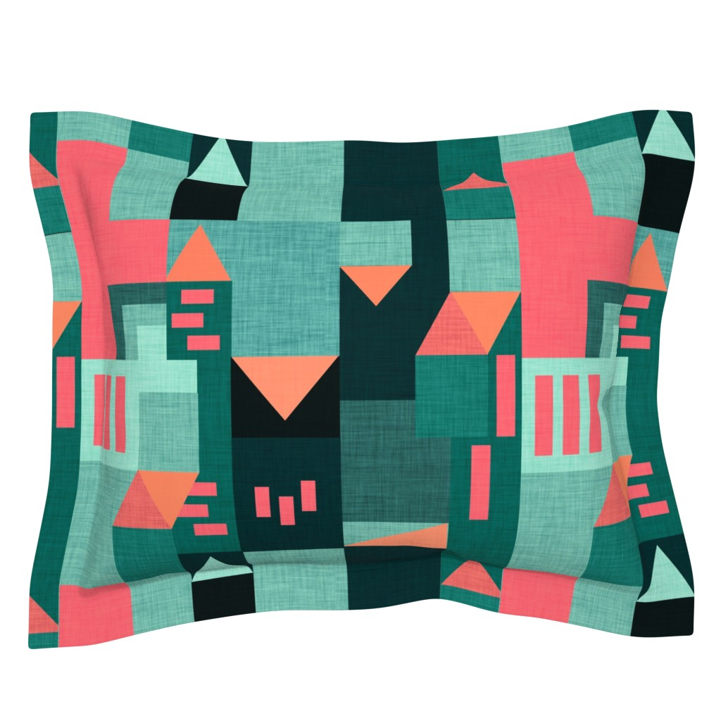 Sebright Pillow Sham featuring Bauhaus Green Klee House  by bruxamagica