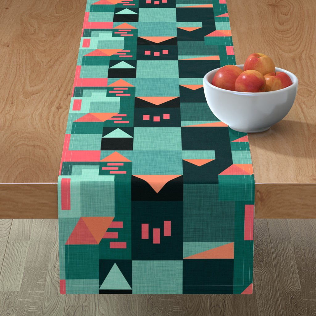Minorca Table Runner featuring Bauhaus Green Klee House  by bruxamagica
