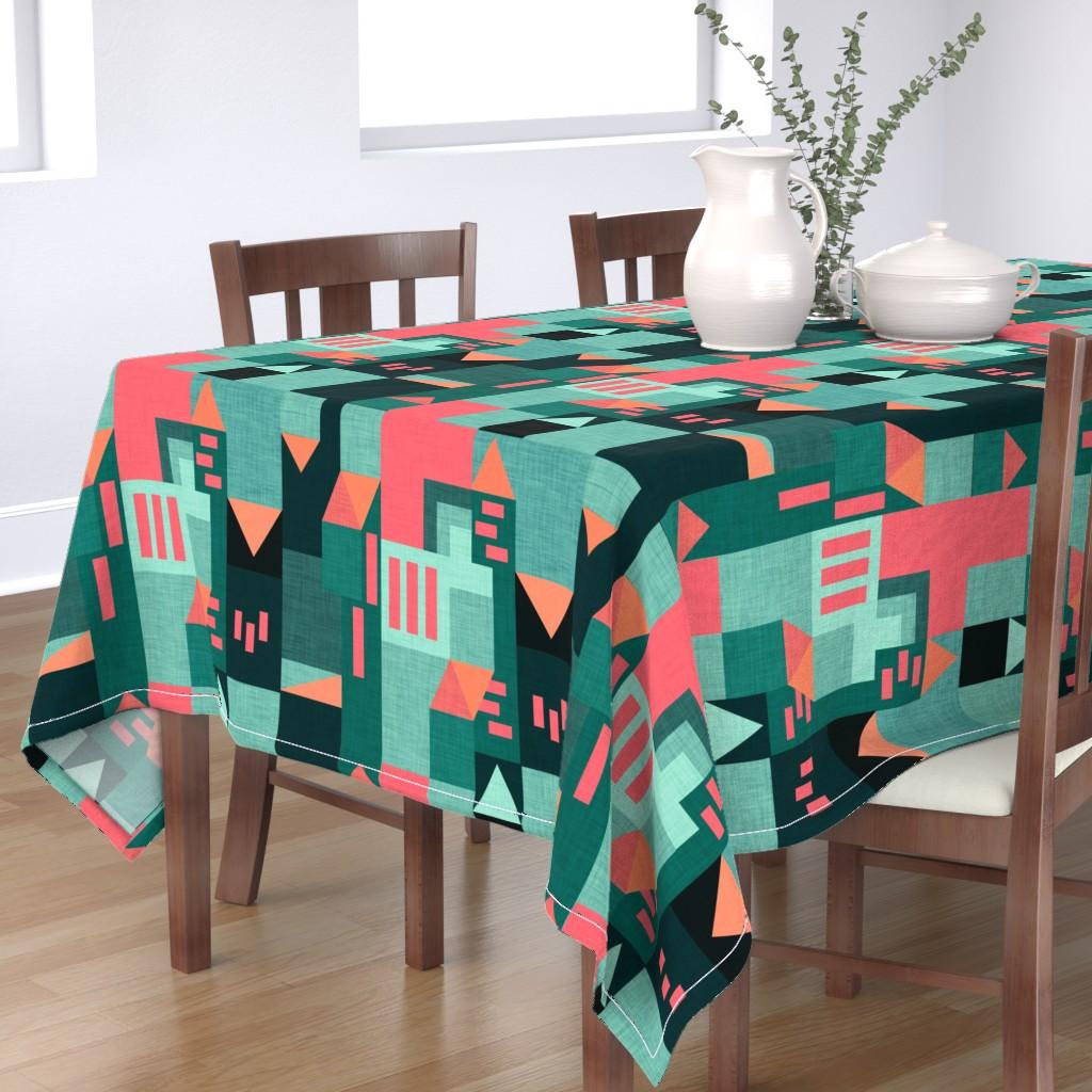 Bantam Rectangular Tablecloth featuring Bauhaus Green Klee House  by bruxamagica