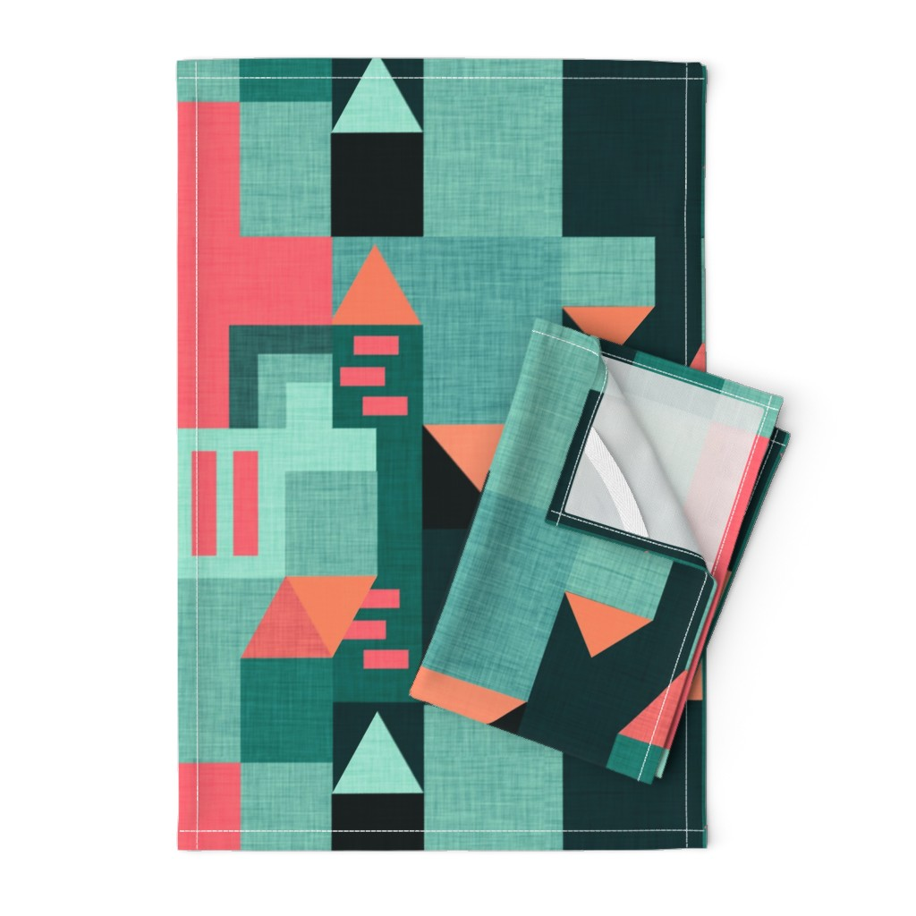 Orpington Tea Towels featuring Bauhaus Green Klee House  by bruxamagica