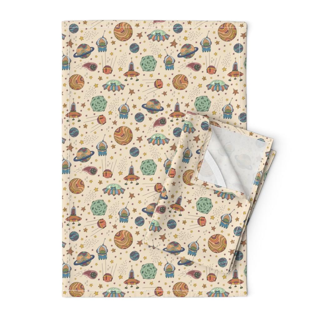 Orpington Tea Towels featuring Cute Universe by juliabadeeva