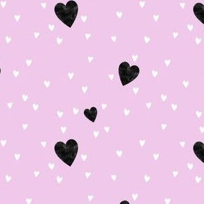 Black and white hearts on pink