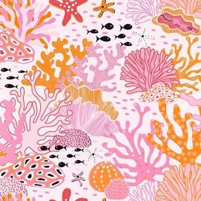 coral reef - pink and orange
