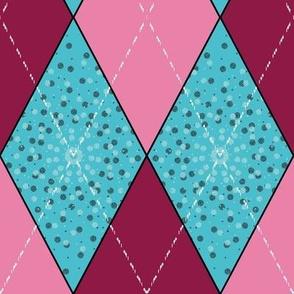 Aqua and Pink Argyle Diamond Bunting
